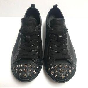 PRADA Leather Lace Up Cap Toe Stud Sneakers Sz 5.5